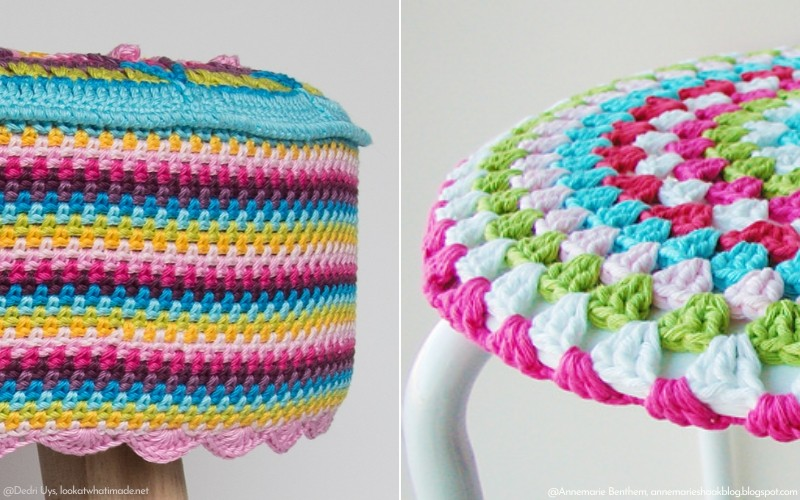 Colorful Crochet Stool Covers