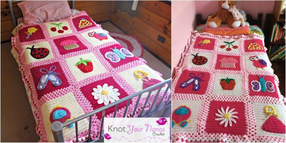 Little Blossom's Blanket Bedspread Free Crochet Pattern