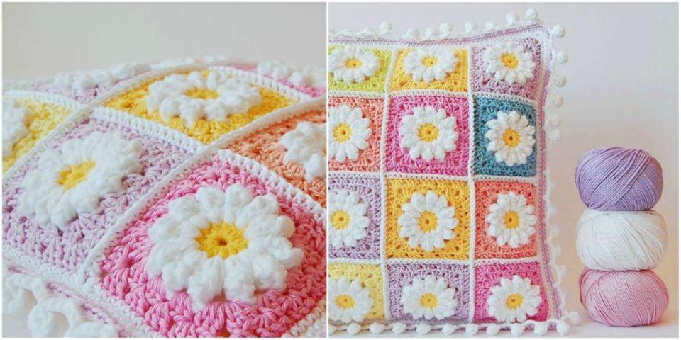Daisy Granny Pillow Crochet Squares