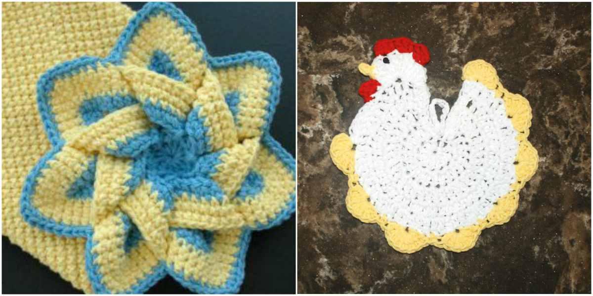 Striped Star Chicken Potholder Free Crochet Pattern