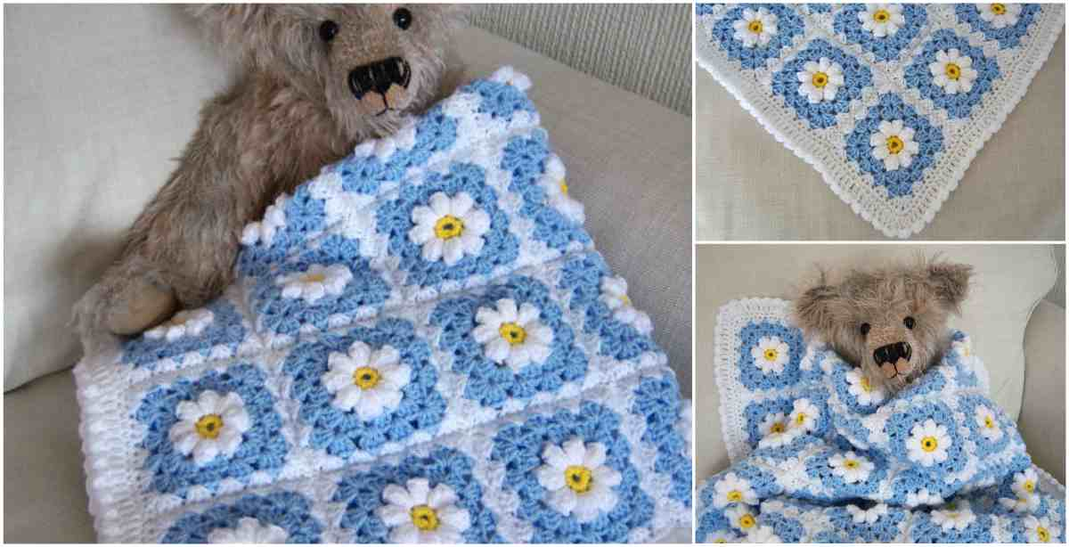 daisy blanket Little popcorn crochet free pattern