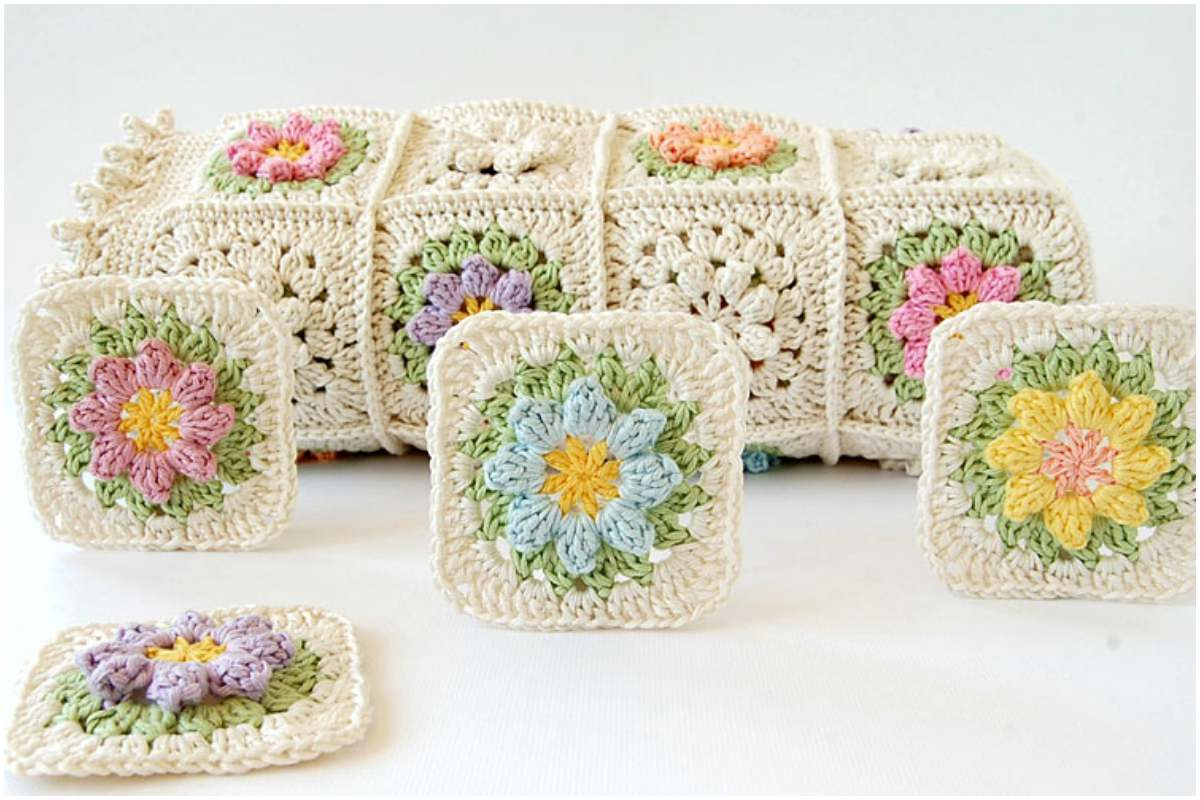 Primavera Flowers Granny Square Free Crochet Pattern And Tutorial