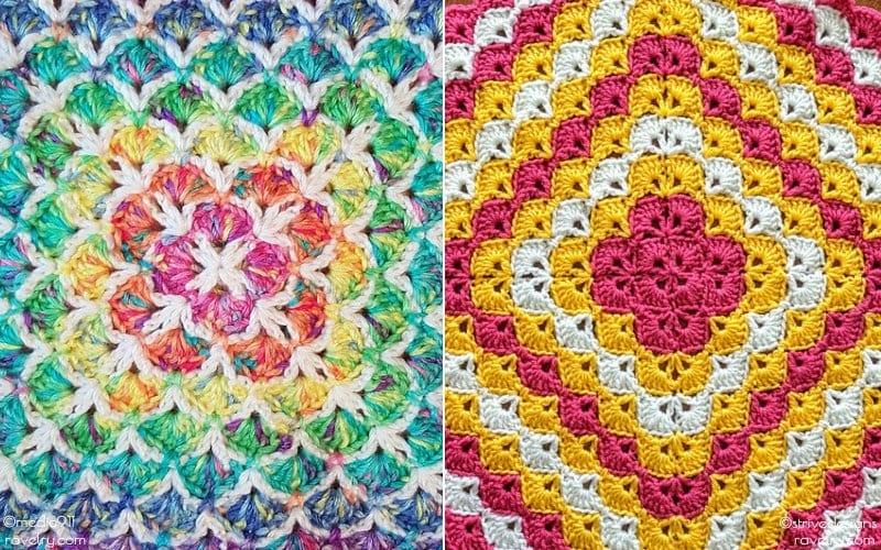 Candy Sweet Shell Stitch Blankets Free Crochet Patterns