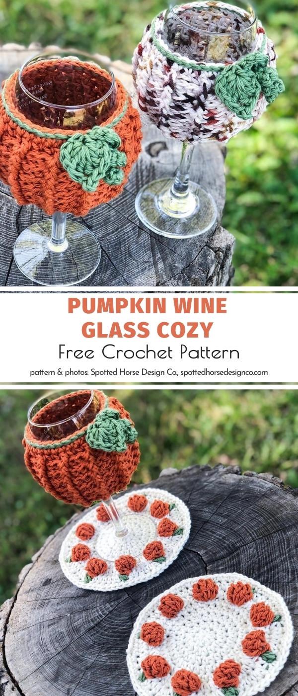 Pumpkin Crochet Wine Glass Cozy