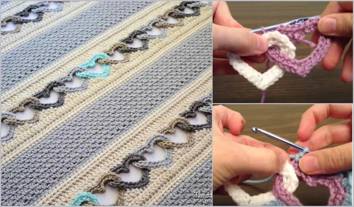 1 How to crochet interlocking heart blanket free tutorial linked with all my heart