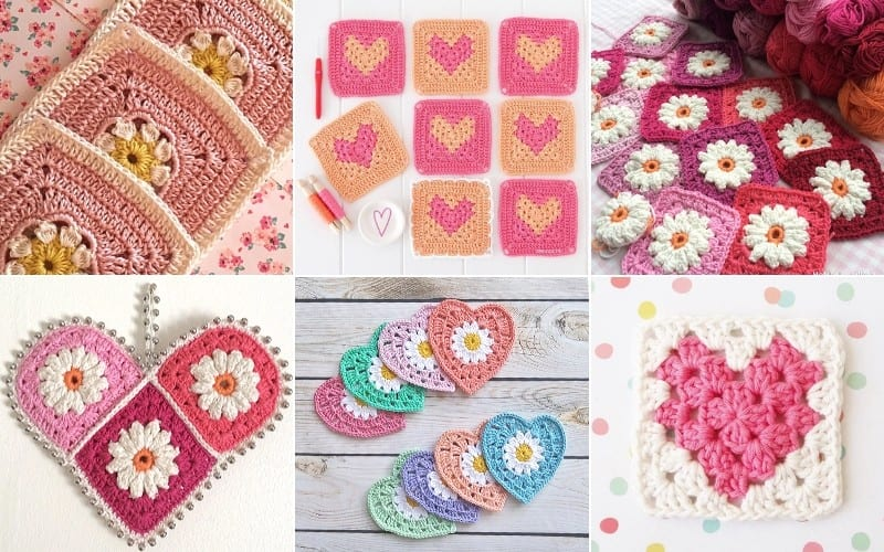 Valentine's Hearts and Daisies Crochet Squares Free Patterns