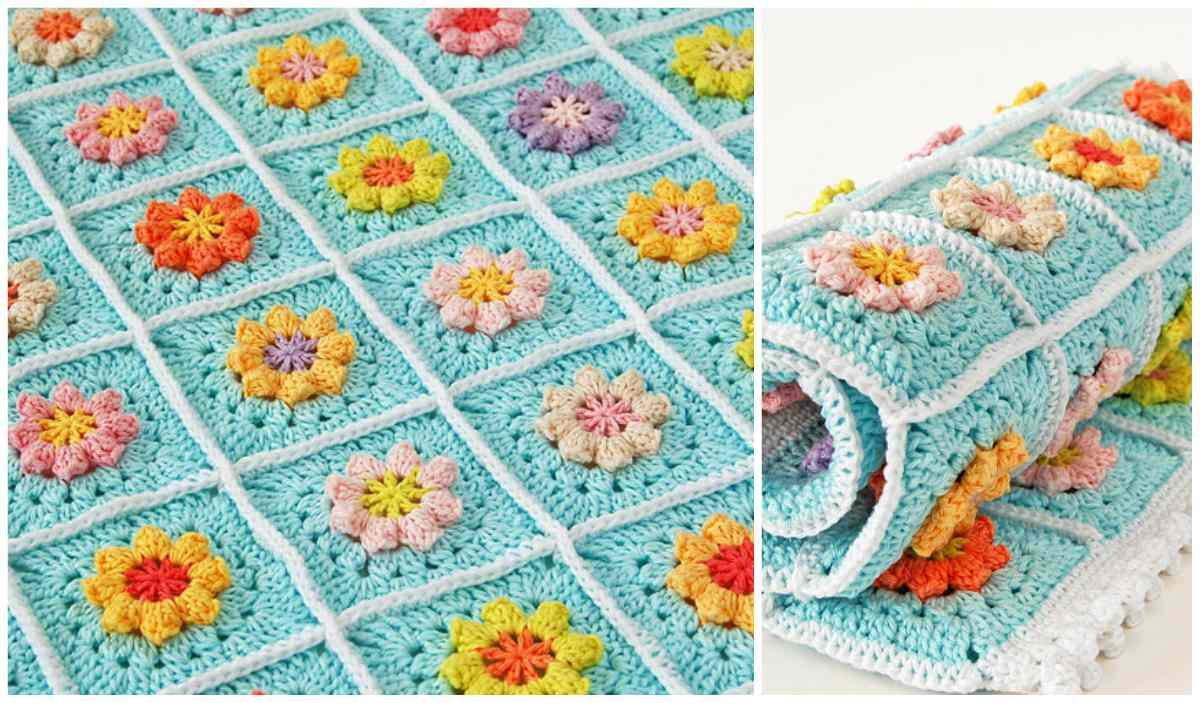 Primavera Flowers Granny Square Blanket Free Crochet Pattern And Tutorial