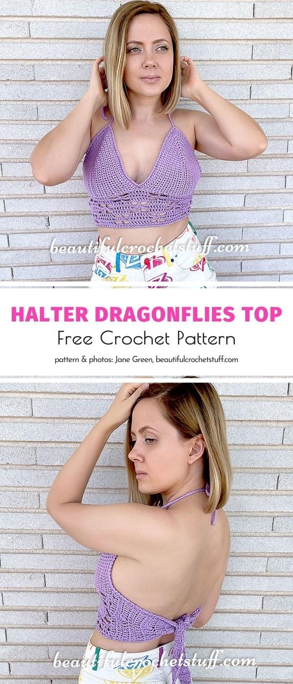 Crochet Halter Dragonflies Top
