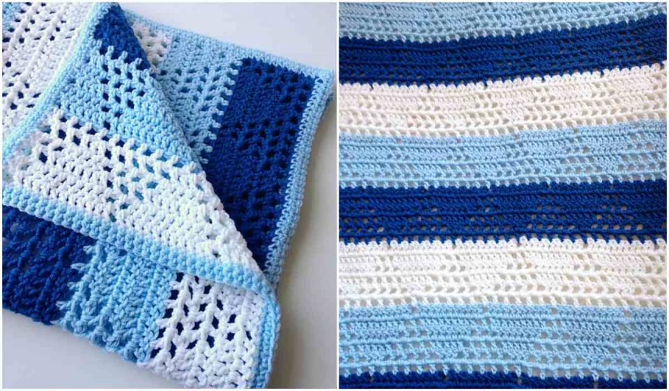 Triangles and Stripes Baby Blanket Free Pattern