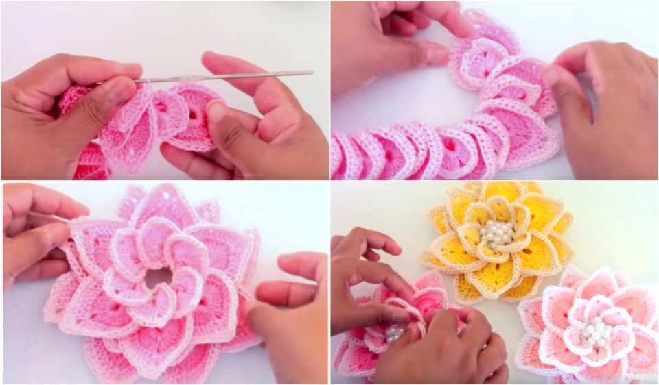 These beautiful and fancy 3D crochet flowers can become a finishing touch on just about any piece of attire, whether it is a piece of clothing, such as a hat, or an accessory like a bag.