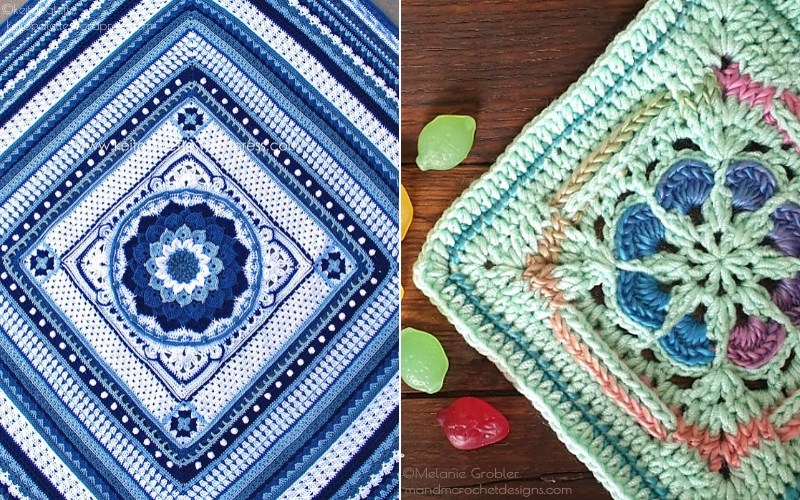 Cool-Toned Squares Free Crochet Patterns