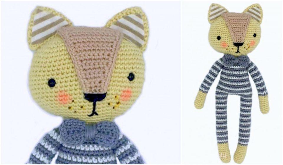 Cat in Striped Pajmas Amigurumi Doll Pattern