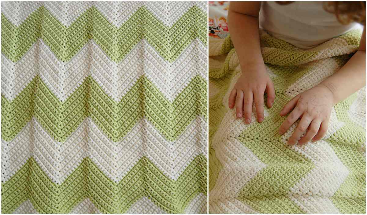 Chevron Baby Blanket With A Straight Edge Free Pattern