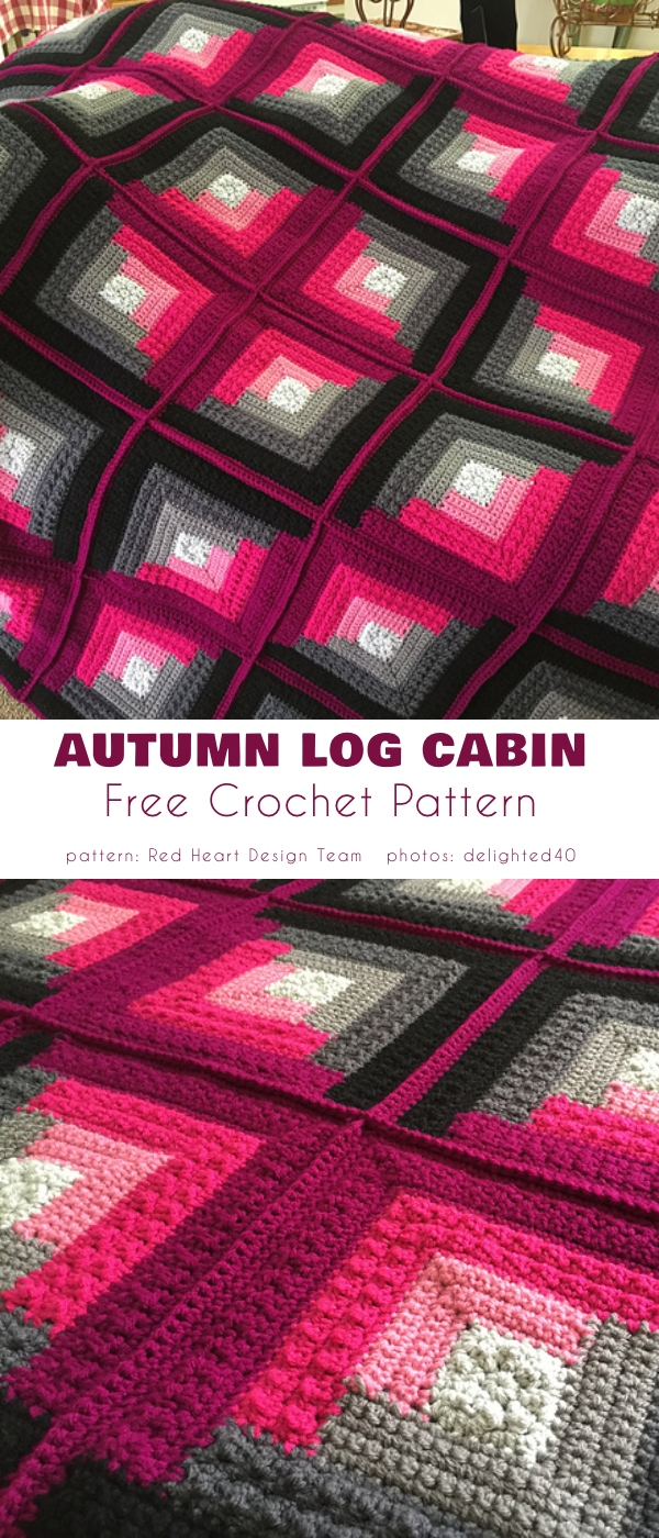 Crochet Autumn Log Cabin Throw