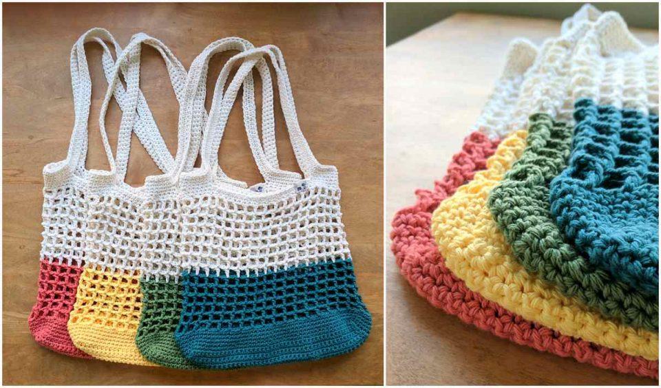Color Block Market Bag Free Crochet Pattern