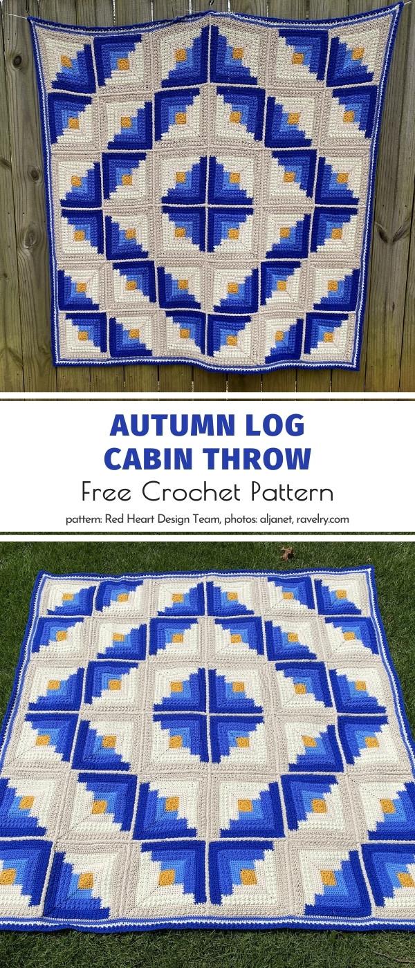 Crochet Autmn Log Cabin Throw