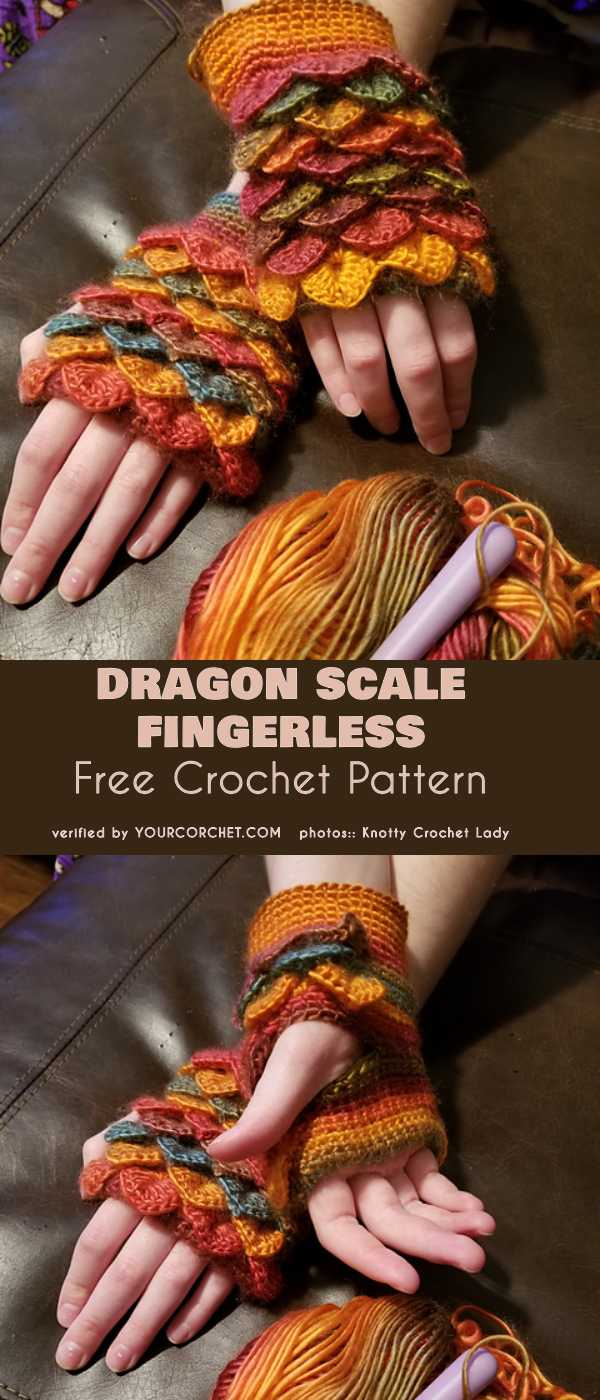 Dragon Scale Fingerless Free Crochet Pattern