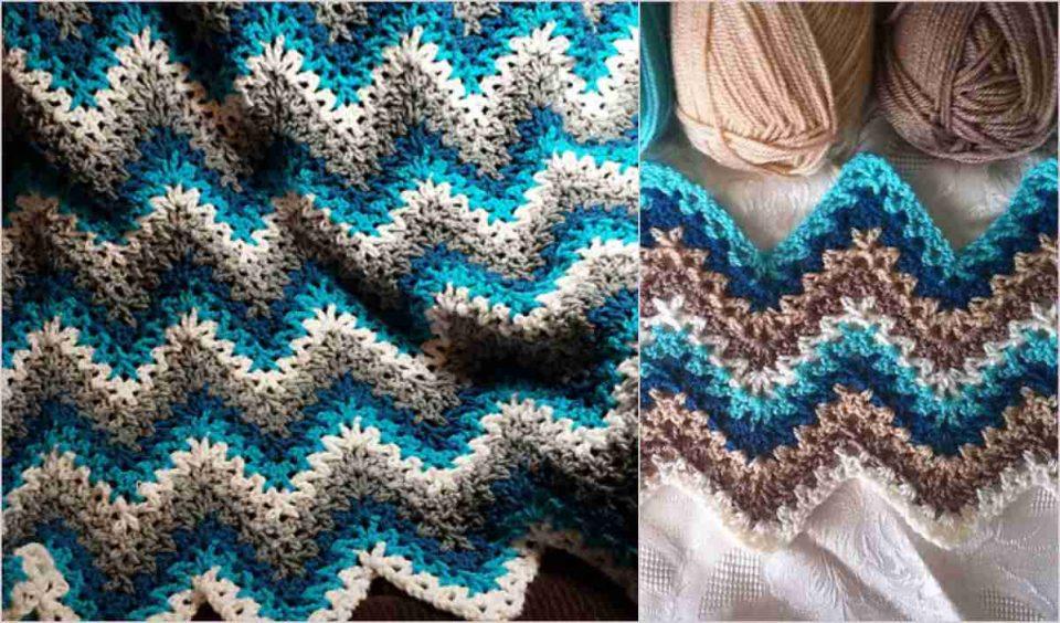 V-stitch Ripple Afghan Free Crochet Pattern