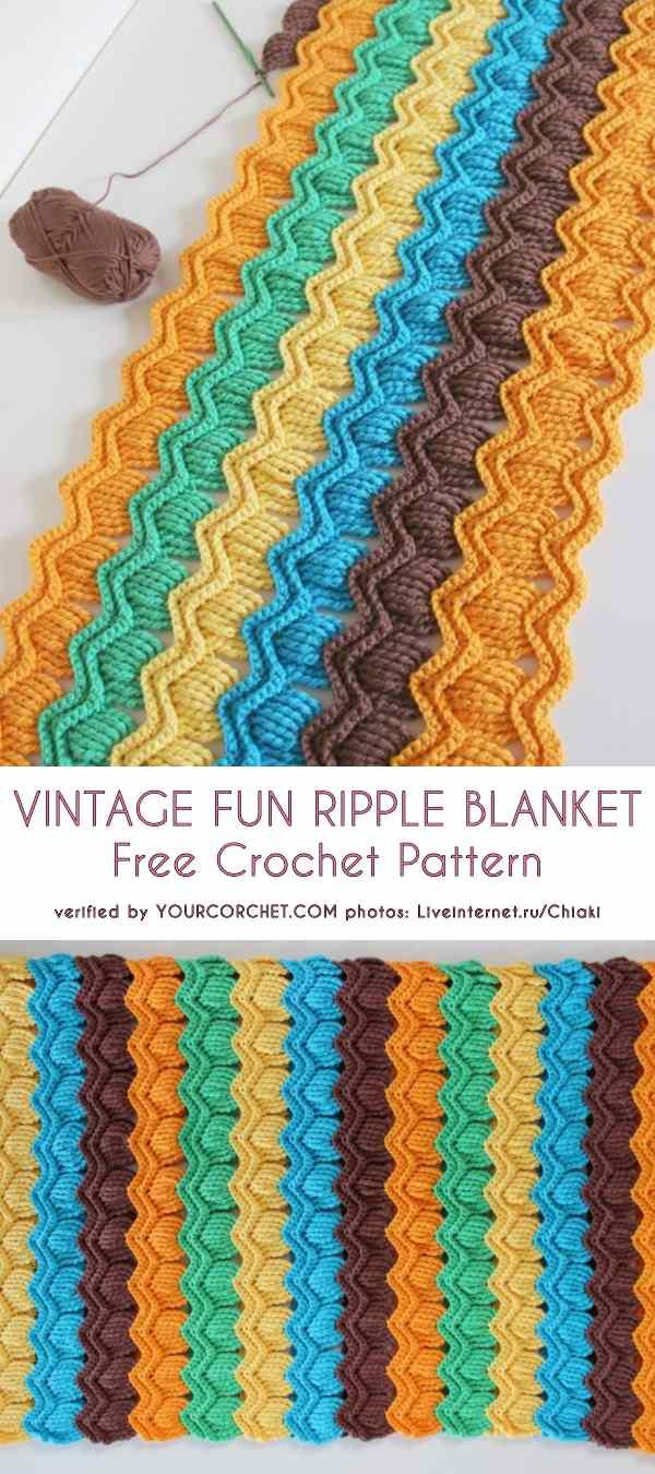 Vintage Fun Ripple Blanket Free Crochet Pattern