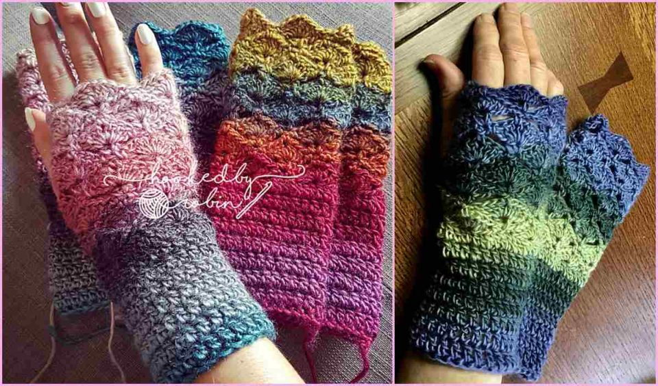 Fantail Stitch Fingerless Gloves Free Crochet Pattern