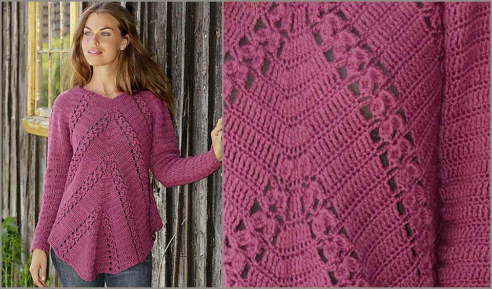 Flora Viola Sweater in 6 sizes Free Crochet Pattern
