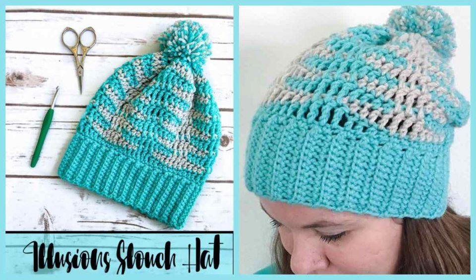 Illusion Slouch Hat Free Crochet Pattern