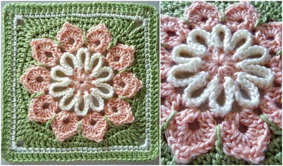 Simple 10 Petal Afghan Square Free Crochet Pattern