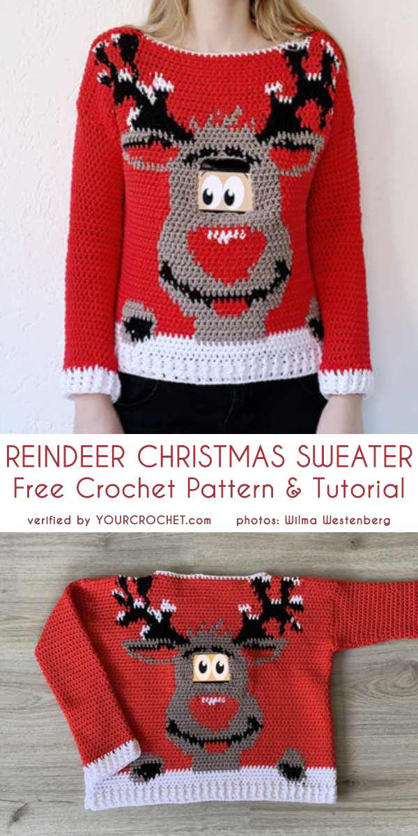 Digital Reindeer Christmas Sweater Free Pattern