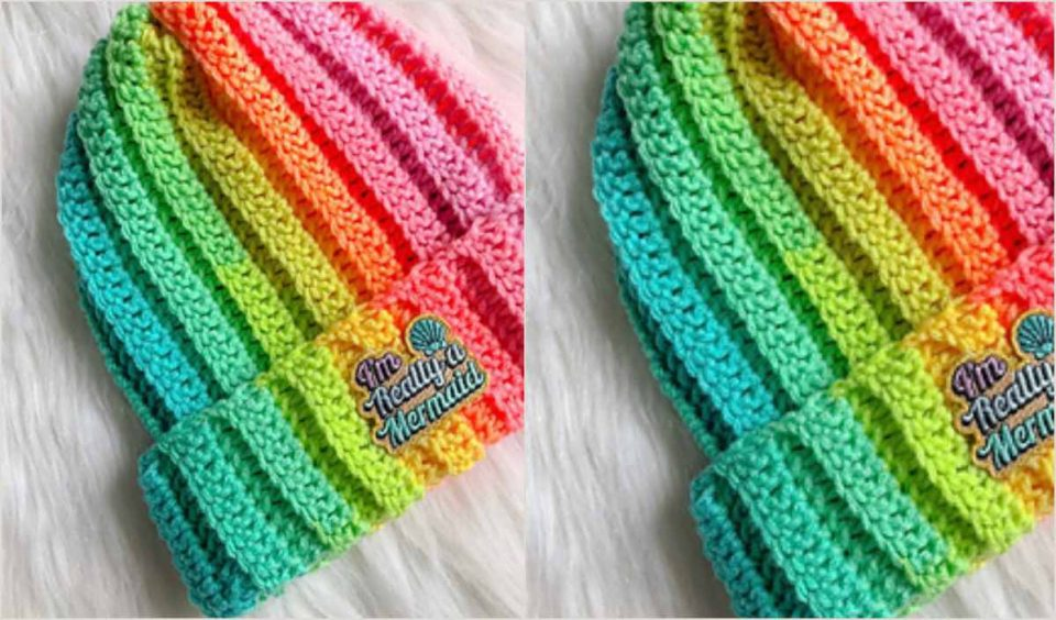 Basic Brimmed Beanie Hat Free Crochet Pattern