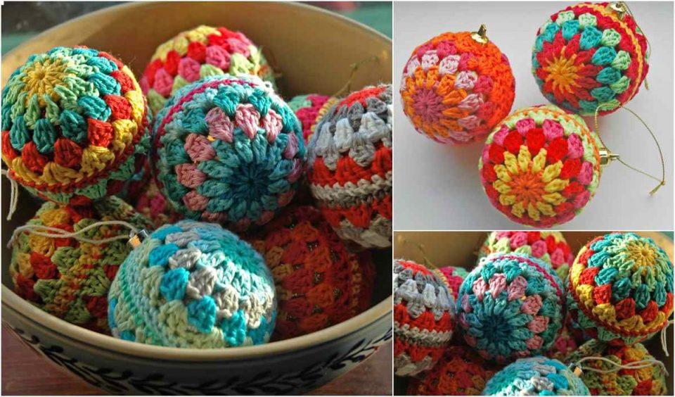 Easy Granny Christmas Baubles Free Crochet Pattern