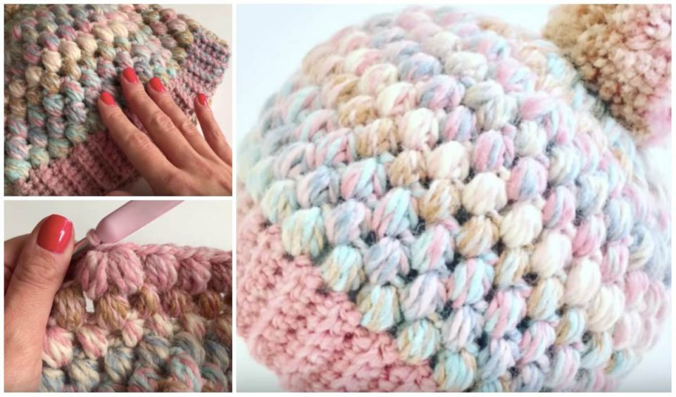 Easy Puff Stitch Beanie Free Crochet Tutorial in English