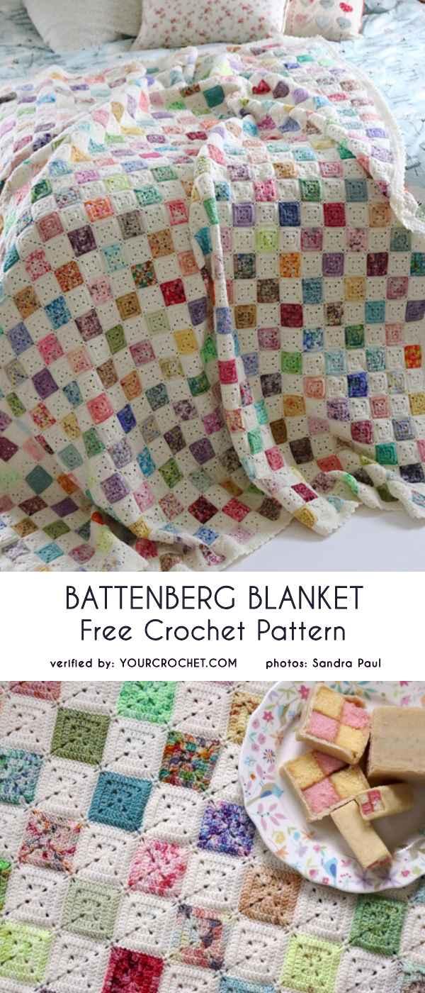 Battenberg Blanket Free Crochet Pattern