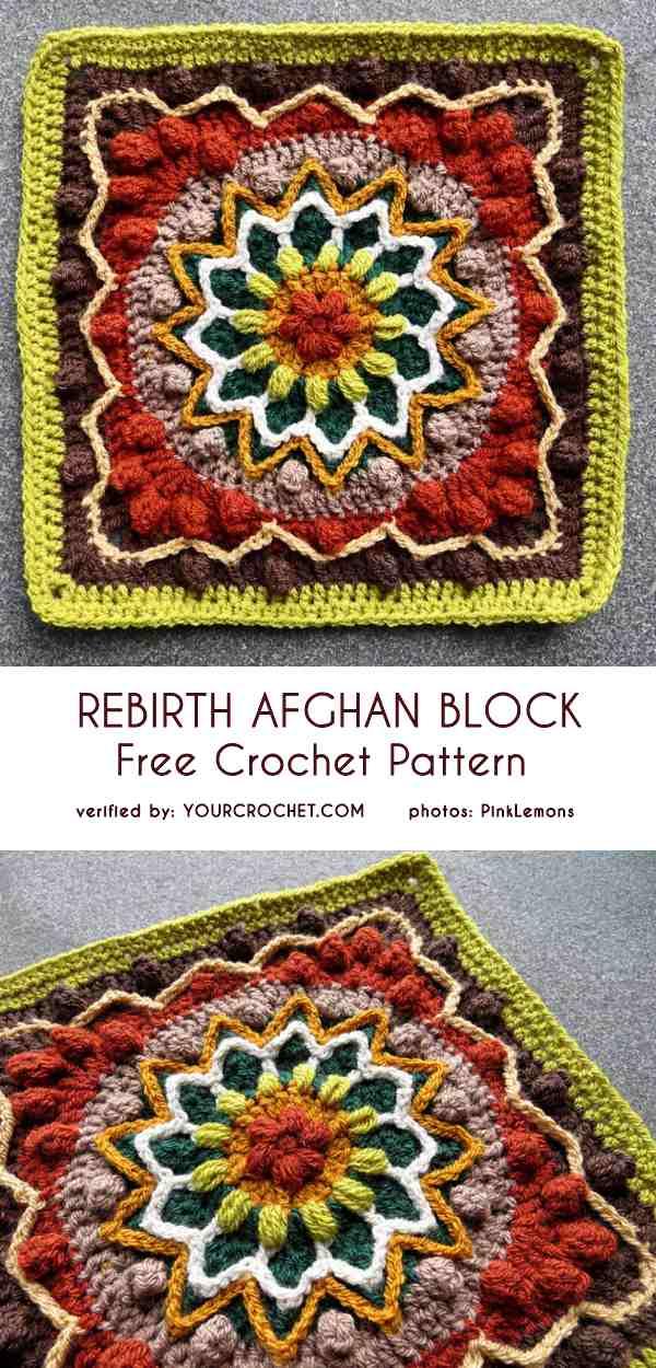 Rebirth Afghan Block Free Crochet Pattern