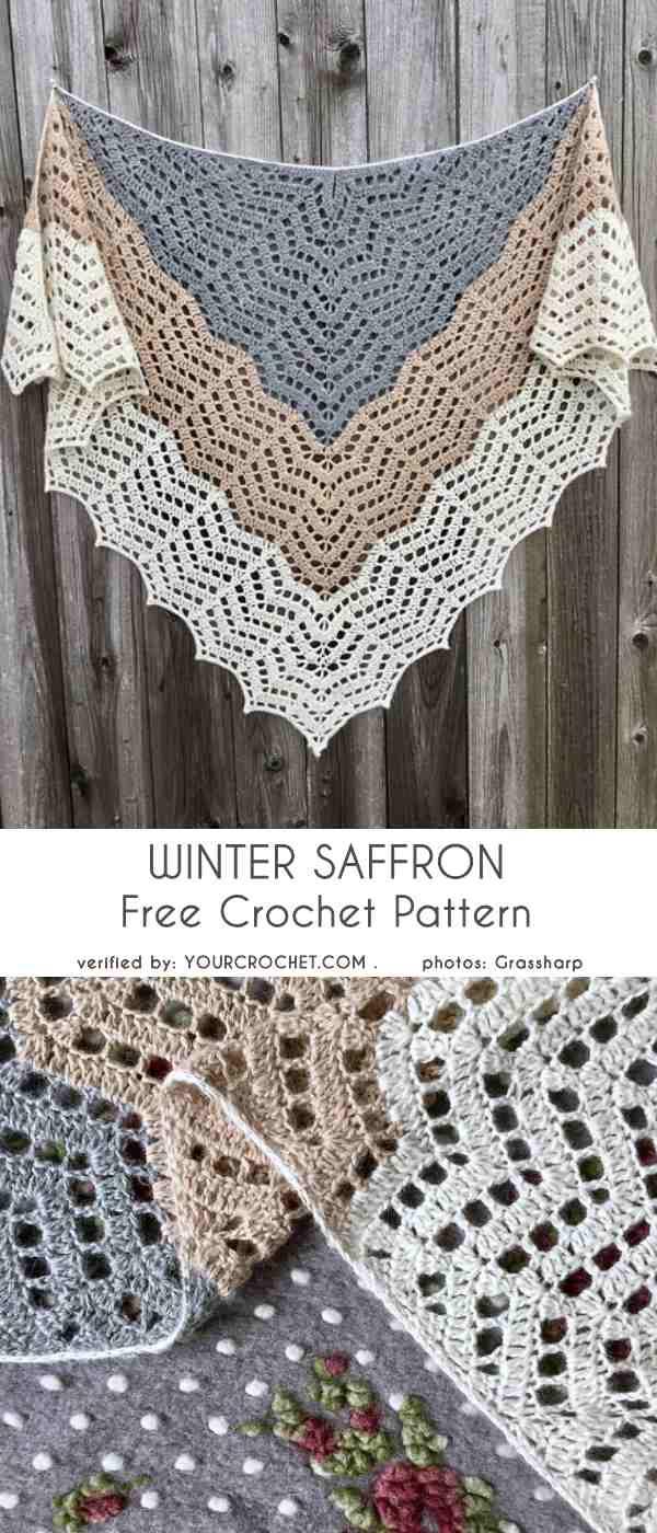 Winter Saffron Shawl Free Crochet Pattern