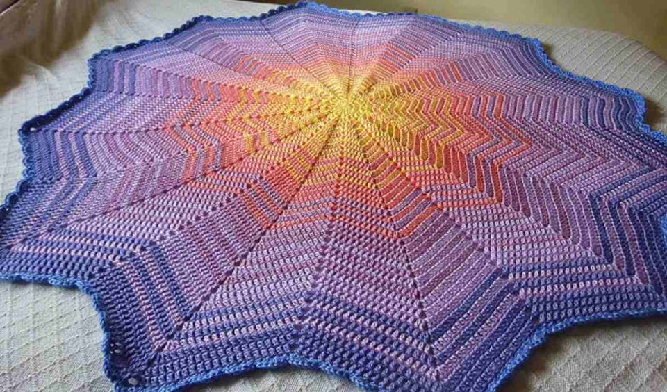 Sunrise Baby Ripple Afghan Free Crochet Pattern