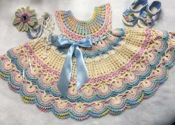 Fantail Baby Dress, Headband and Sandals Free Crochet Diagrams