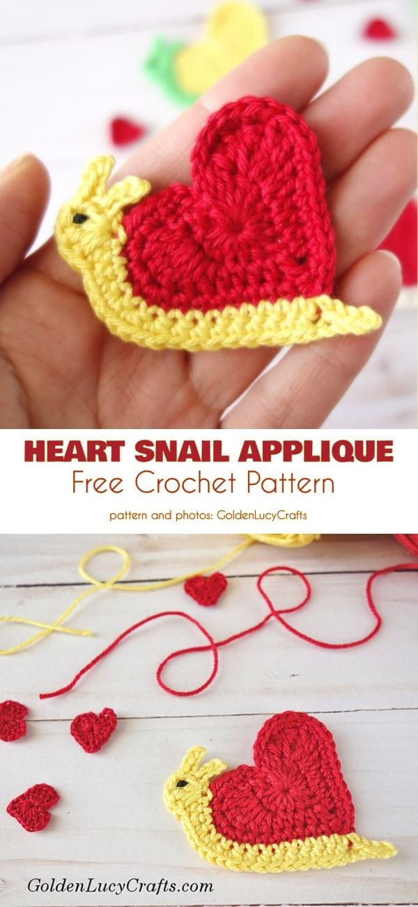 Valentine's Day Crochet Snail Applique