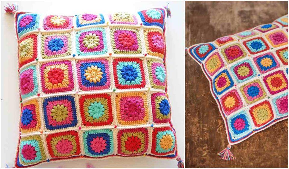 Bohemian Garden Cushion Free Crochet Pattern