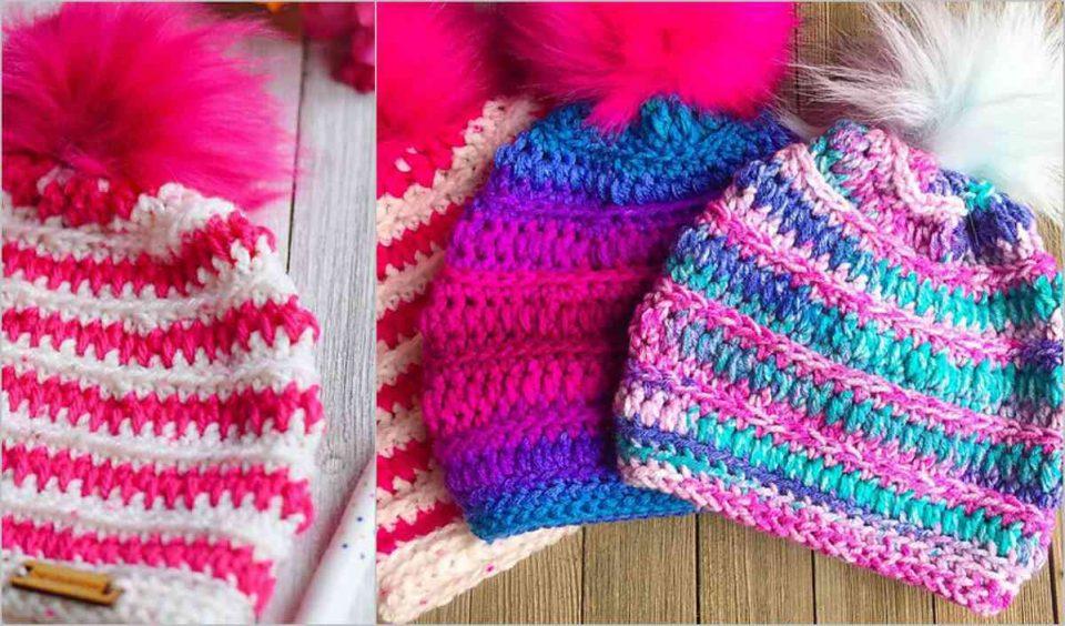 Pretty in Pink Beanie Hat Free Crochet Pattern