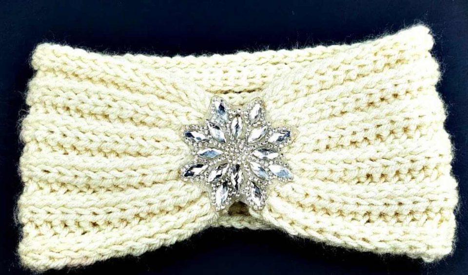 Rhinestone Ear Warmer Headband Free Crochet Pattern