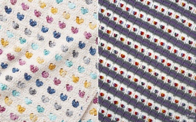 Stripy Hearts Baby Blankets Free Crochet Patterns