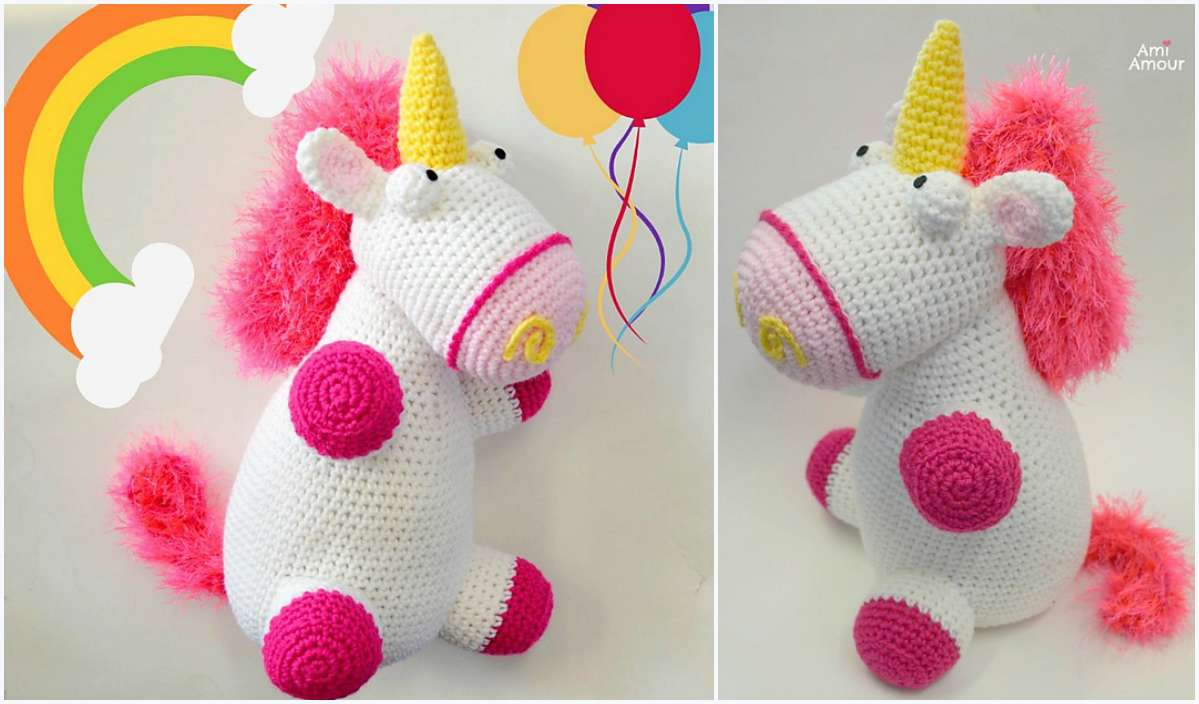 1 fluffy unicorn free crochet pattern