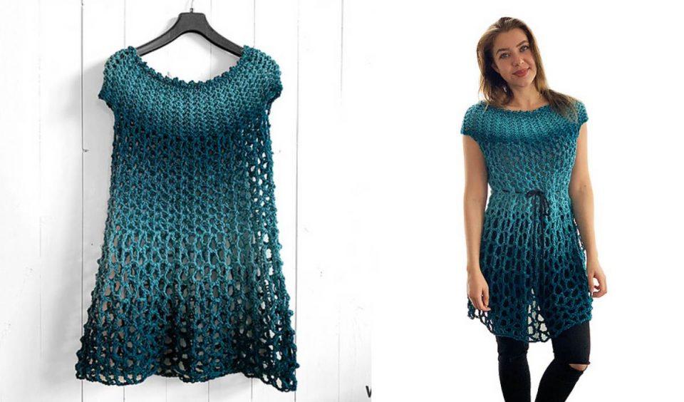 Poncho Dress Free Crochet Pattern