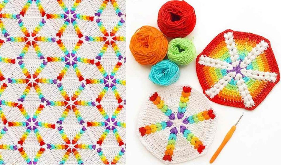 Rainbow Puff Hexagon Blanket Free Crochet Pattern