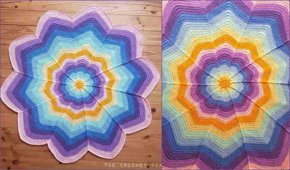 Spoke Flower Blanket Free Crochet Pattern