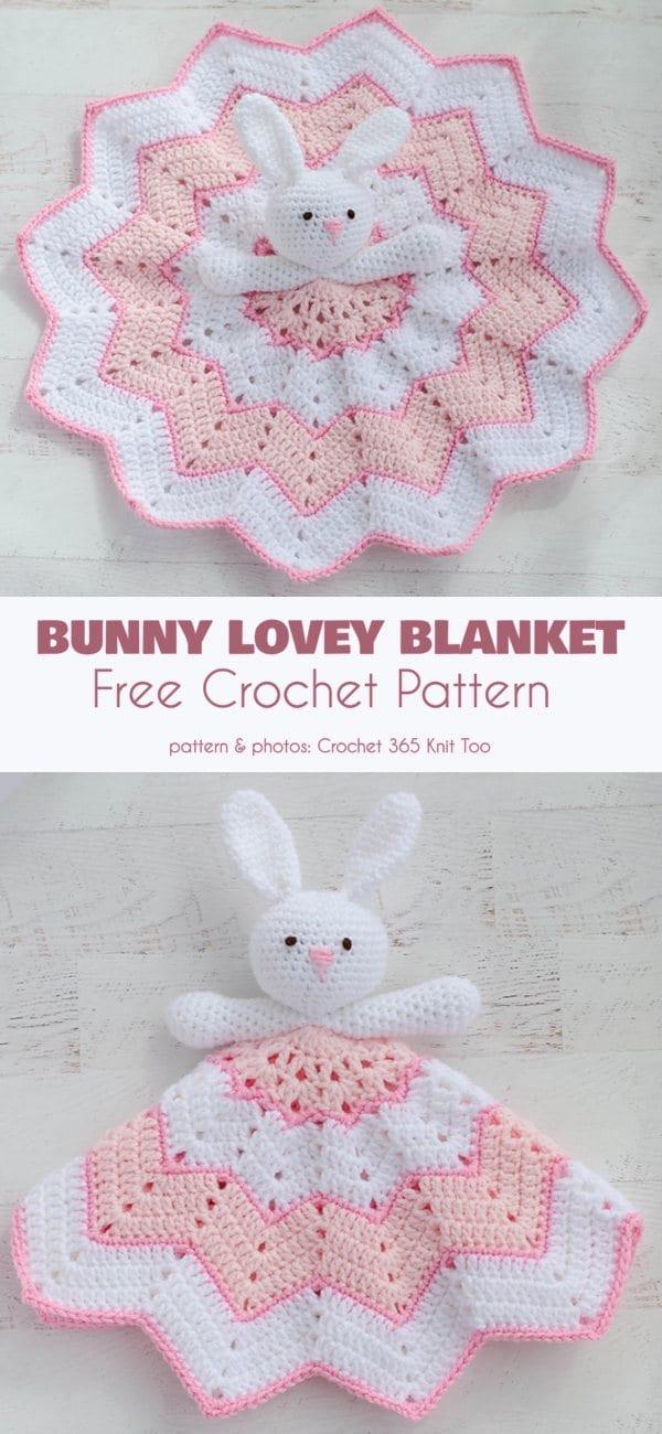 Bunny Lovey Blanket Free Crochet Pattern