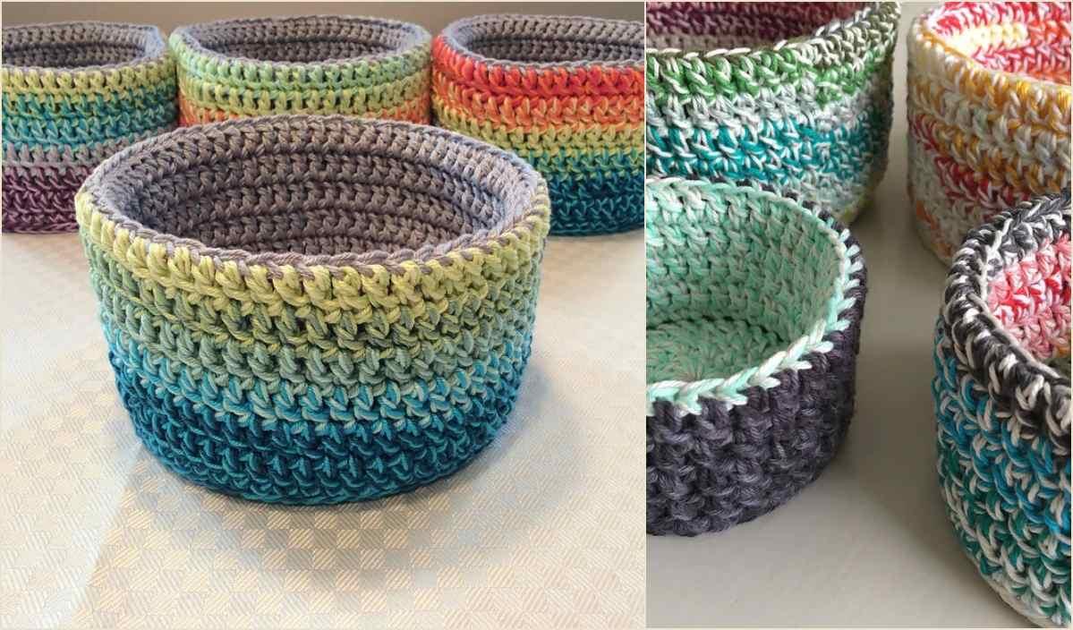 Crochet basket pattern multiple sizes