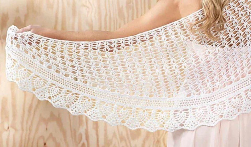 Gardenia Shawl Free Crochet Pattern