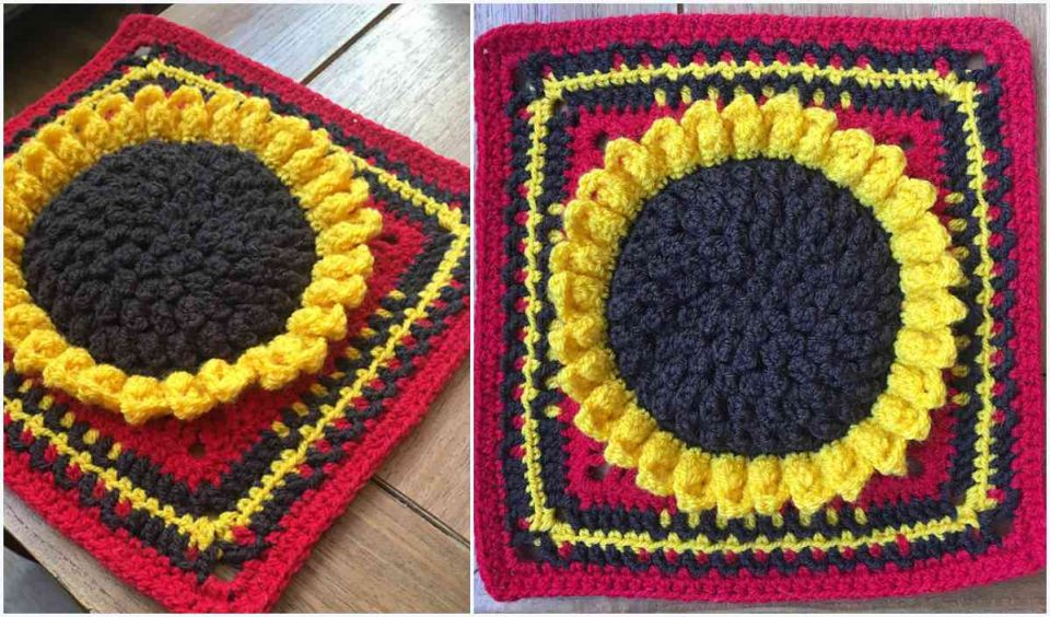 Sunflower Galore Square Free Crochet Pattern