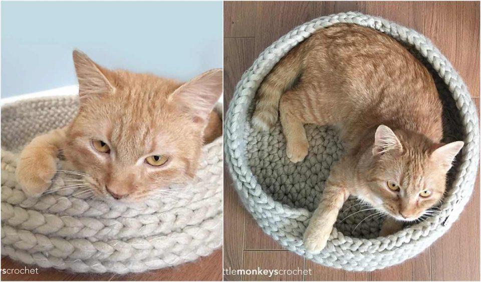 Tabby Chic Cat Bed Free Crochet Pattern